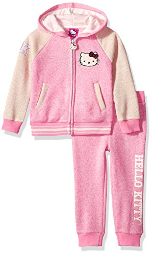 Hello Kitty Toddler Girls' 2 Piece Hooded Fleece Active Set, Pink 87593, 2T