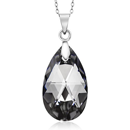 Gem Stone King Nirano Collection Black Tear Drop Pendant Made with Swarovski Crystals by Gem Stone King (Image #4)