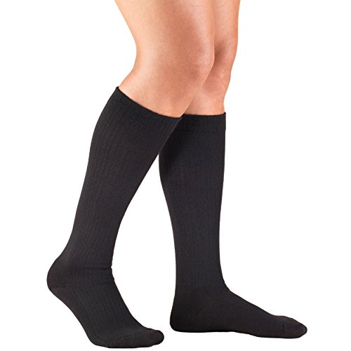 Truform Compression Socks for Women, 10-20 mmHg, Knee High, Trouser Style, Cushion Foot, Black, Small ()