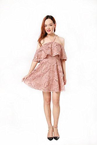 ARACK Drop Shoulder Pink Midi Cocktail Party Dress (Medium) ()