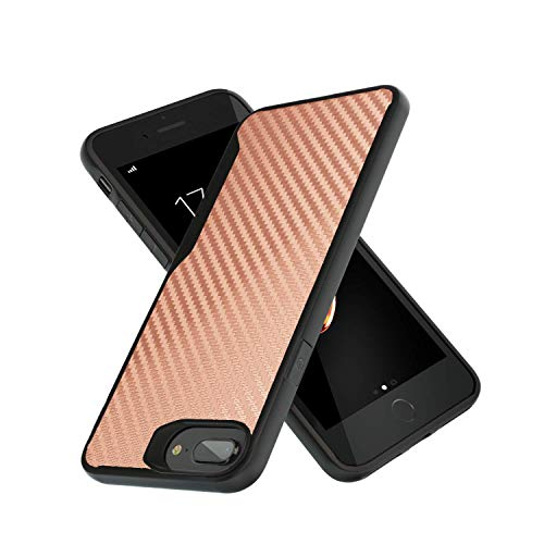 iPhone 7 Plus Case | iPhone 8 Plus Case | 10ft. Drop Tested | Carbon Case | Ultra Slim | Lightweight | Scratch Resistant | Wireless Charging | Compatible with iPhone 7 Plus/iPhone 8 Plus - Rose Gold