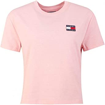 Tommy Jeans Camiseta Badge Cropped Rosa Mujer: Amazon.es: Ropa y accesorios