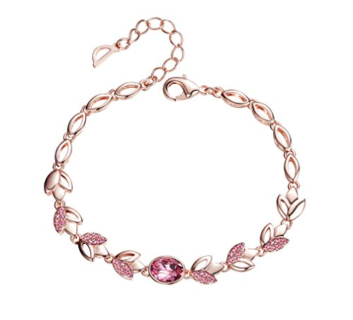 "Frola – Romantic""Rose lover""Made with SWAROVSKI Elements Crystal Bracelet Jewelry, Girl and Woman Fashion Gift (Rose)"