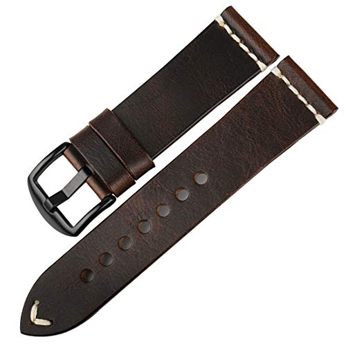 DITOU Watch Band 20mm 22mm 24mm, Vintage Oil Wax Leather (Greasedleather) Watch Strap 6 Colors Available Watchband (Band Width: 22mm, Dark Brown B) ()