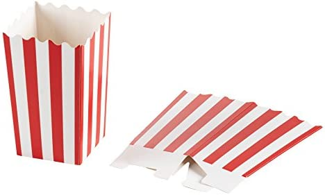 3x5 Snack Containers for Carnival Party Supplies Red and White Movie Night Birthdays 3.3 x 5.6 Inches 20 Ounce Blue Panda Set of 100 Mini Popcorn Favor Boxes