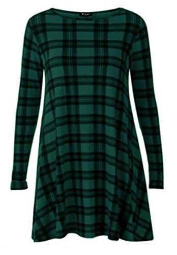 WearAll Plus Size Womens Plain Long Sleeve Stretch Ladies Swing Dress Top – 16-26