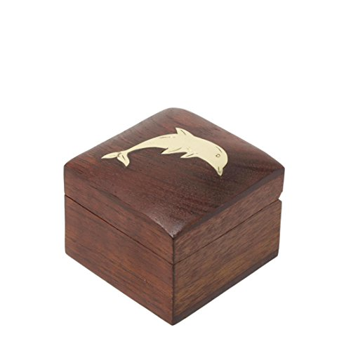 Shalinindia Handmade Indian Dolphin Wooden Jewelry Box-2X2X1.5 Inch-Artisan Crafted Natural Wood And Brass -Perfect For (Indian Armoire)