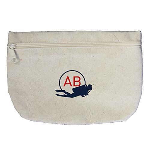 Custom Embroidery Monogram 2 Letters Navy Sport Scuba Diver Frame Cotton Canvas Makeup Bag Zippered Pouch ()