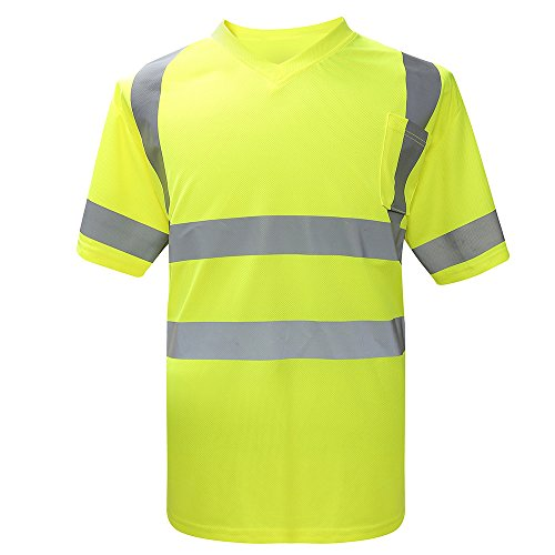 AYKRM Hi Viz Safety Work Wear High Visibility V Neck T-Shirt (Yellow, XXL)