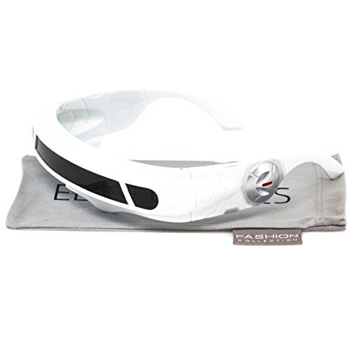 Futuristic Space Alien Costume Party Cyclops Shield Colored Mirror Mono Lens Wrap Sunglasses 137mm (White, - Glasses White Alien