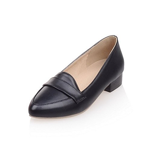 AllhqFashion Womens Solid Soft Material Low Heels Pull On Pointed Closed Toe Pumps-Shoes Black 7w7kt