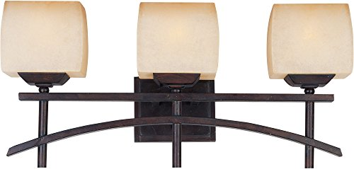 (Maxim 10993WSRC Asiana 3-Light Bath Vanity, Roasted Chestnut Finish, Wilshire Glass, MB Incandescent Incandescent Bulb , 60W Max., Dry Safety Rating, Standard Dimmable, Metal Shade Material, Rated Lumens)