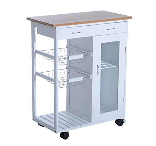 "Adjustable Kitchen Cart - HomCom 34"" Rolling Kitchen Trolley Serving Cart with Drawers and Cabinet - White"