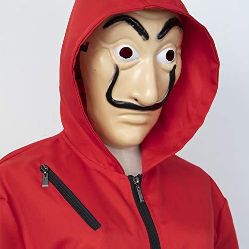 Disfraz de Halloween La Casa De Papel Cara de la película Realista Traje de Cosplay Traje Rojo Trajes de una Sola Pieza