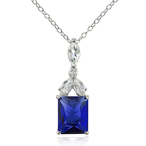 Sterling Silver Created Blue Sapphire and White Topaz Emerald-Cut Necklace -