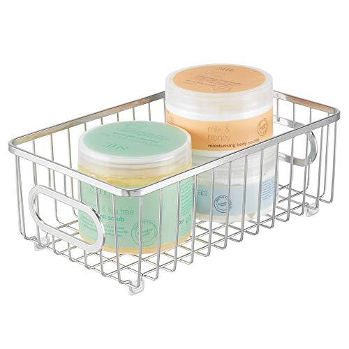 mDesign Metal Bathroom Storage Organizer Basket Bin - Modern Wire Grid Design - for Organization in Cabinets, Shelves, Closets, Vanity Countertops, Bedrooms, Under Sinks - Small Wide - Chrome