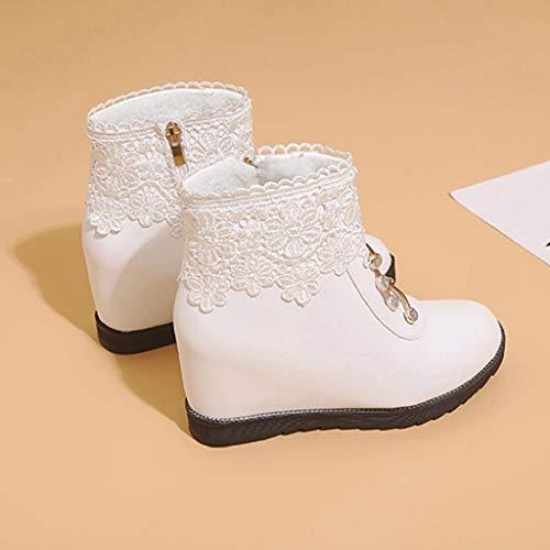 en Bottes dentelle Chaussures bout hiver pour pour avec rond en dentelle femme imperméables et doux plate compensées antidérapant femmes Abcone wBzBrtq