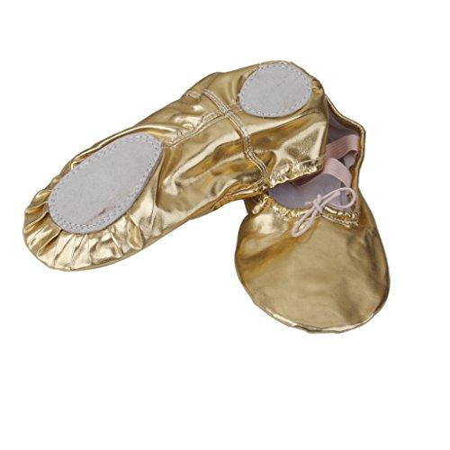Pointe Zapatos Muchacha Oro Mujer Ballet Baile Lentejuelas Plata para Gimnasia De De Cuero MagiDeal 6d7wqS06