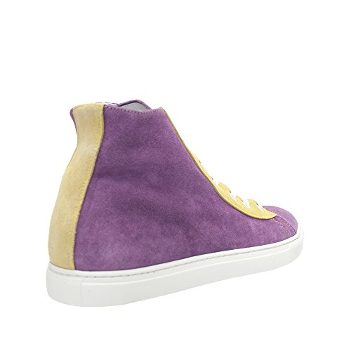 Lancio Nya Mens Lila / Gul Mocka High Top Sneaker Lila / Gul