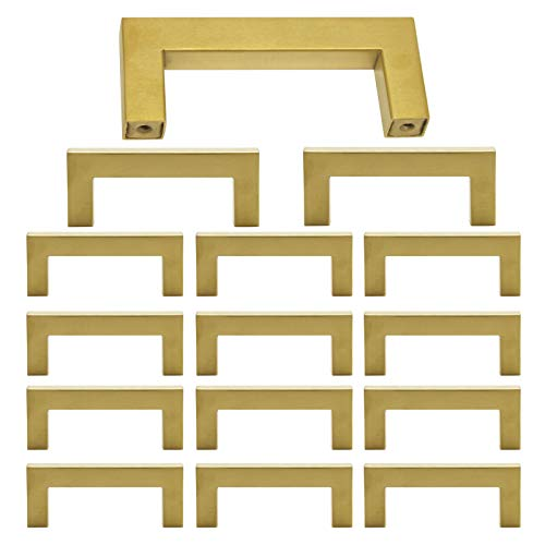 15 Pack Square Cabinet Pulls and Knobs Brushed Brass Finish 3 inch 76mm Hole Spacing Stainless Steel Kitchen Hardware Gold Handle Pull 86mm Length Modern Dresser Drawer Pull Closet Door Handles