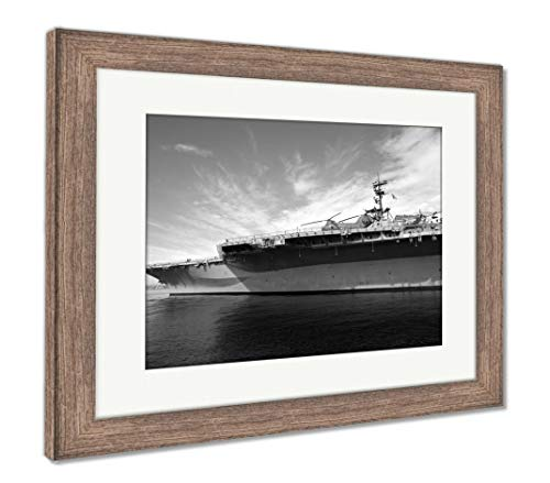 Ashley Framed Prints USS Midway San Diego California, Wall Art Home Decoration, Black/White, 26x30 (Frame Size), Rustic Barn Wood Frame, AG5597026
