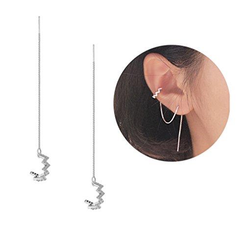 Wave Dangle (Threader Tassel Earrings Sterling Silver Ear Cuff CZ Wave Dangle drop Long Earrings)