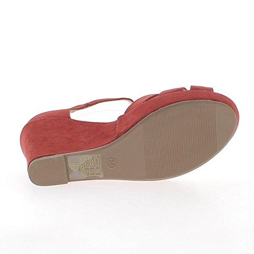 Rojo Plataforma de 10cm Aspecto Tobillo los Sandalias de con Brida Cuña los Ante y Talones rCqwrX4p
