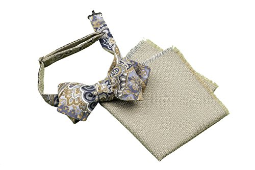 Bow Tie, Self Tie, Double Sided, Reversible, Pocket Square, Set, Men, Unisex, Adjustable, Hook, Silk, Wool, Blue, Beige, Brown, Floral Print, One size, Made In Italy, Handmade by Old Fashion Sartoria, Florence, Italy