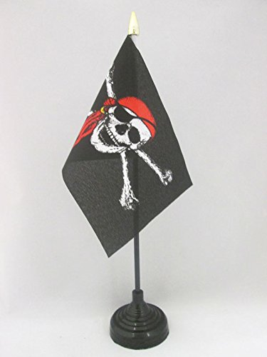 AZ FLAG Pirate Red Bandana Table Flag 4'' x 6'' - Jolly Roger Desk Flag 15 x 10 cm - Golden Spear top (Jolly Roger Flag 4x6)