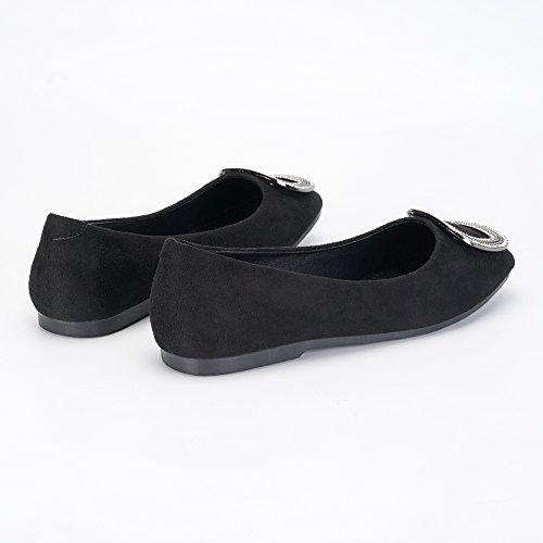 OCHENTA Zapatillas Planas de Terciopelo Suave Confort Para Mujer con Cordones Planos EN Zapatillas de Ballet Negro