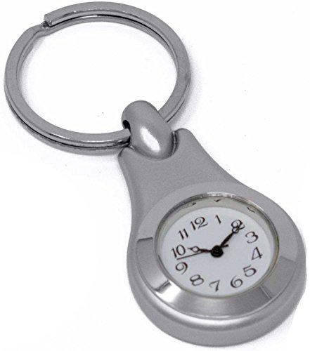 Silver Circle Clock Keychain