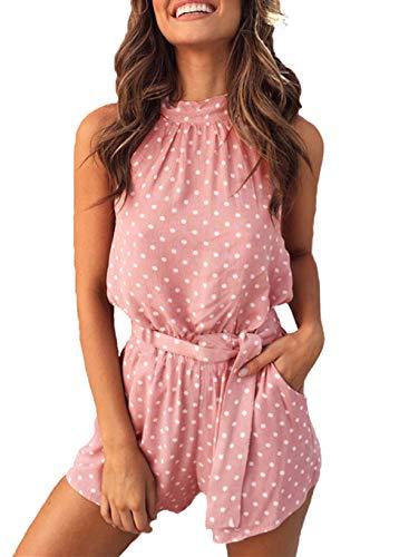 PRETTYGARDEN Women's Summer Polka dot Printed Halter Neck Sleeveless Elastic Waist One Piece Short Jumpsuit Rompers (Pink, Medium)