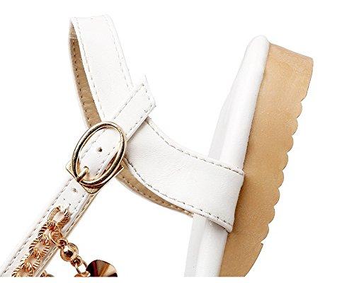 Cuir Boucle AalarDom Sandales d'orteil Ouverture à Femme PU Blanc Bas Talon TSFLG005554 Fq8fEq