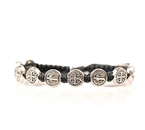 My Saint My Hero Handwoven Benedictine Blessing Bracelet, Adjustable (Silver Plated Medals on - St Stores Queen