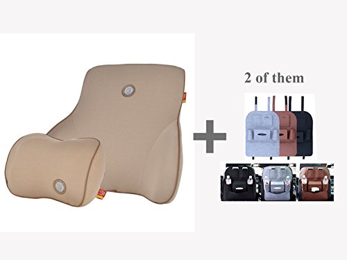 Activated Comfort Massager (GIGI Pillow Therapeutic Neck Support Lumber for Car with Natural Activated Bamboo Charcoal as an Air Purifier and Odor Eliminator (Bamboo-Charcoal Apricot))