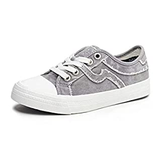 SALT&SEAS Women Adults Canvas Fashion Sneakers Low Top Lace Up Lightweight Flat Breathable Casual Shoes Grey, 7