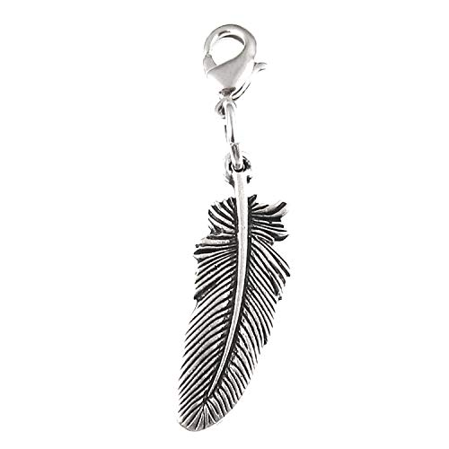 Silver Feather Zipper Pull Purse Charm, Silver Clip On Dangle with Lobster Clasp