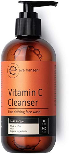 Eve Hansen Vitamin C Face Wash | HUGE 8 oz Anti-Aging Skin Cleanser for Dark Circles, Age Spots and Fine Lines | Blackhead Remover, Hyperpigmentation Treatment, Pore Minimizer Gel Face Cleanser