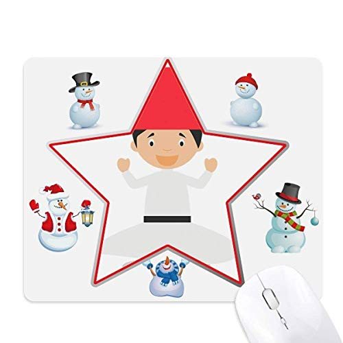 White Whirling Dervishe Cartoon Christmas Snowman Family Star Mouse Pad