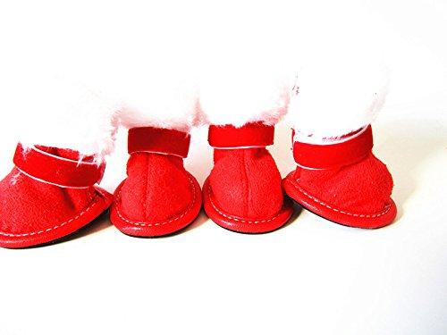 TopSun 4pcs Pet Dog Puppy Cotton Blend Shoes Winter Snow Warm Walking Boots Crimson New