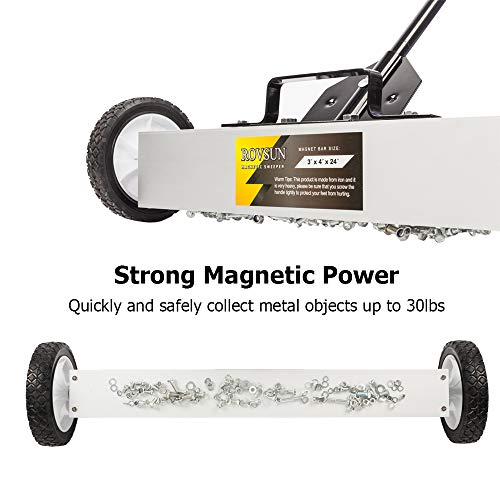 ROVSUN 24-Inch Rolling Magnetic Pick-Up Sweeper | 30-LBS Capacity, with Quick Release Latch & Adjustable Long Handle, for Nails Needles Screws Collection by ROVSUN (Image #1)