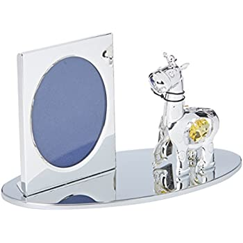 Silver Cartoon Giraffe Picture Frame Made with Genuine Matashi Crystals