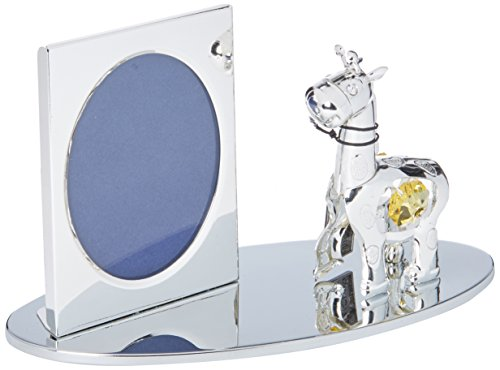 Silver Plated Picture Frame with Crystal Studded Cartoon Giraffe Figurine on a Base by Matashi