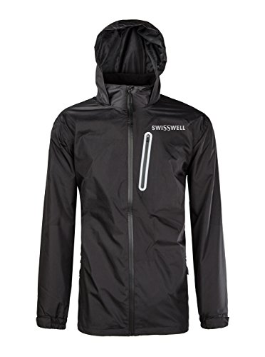 SWISSWELL Hooded Rain Jakcet for Mens Black Medium (Rain Golf Pullover)