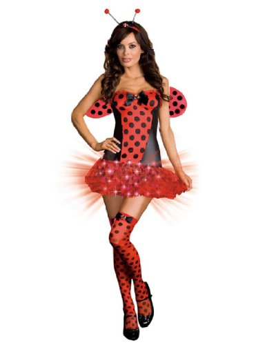 [Dreamgirl Women's Light Me Up Ladybug Costume,Red,Large] (Light Me Up Ladybug Dress Costumes)