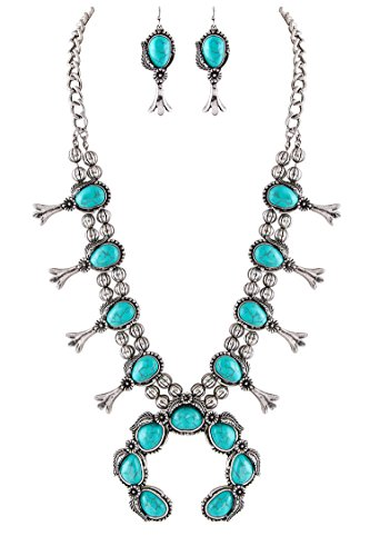 Jayde N' Grey Navajo Southwestern Squash Blossom Turquoise Necklace (Turquoise Classic Large Size) (Necklace Chain Squash)