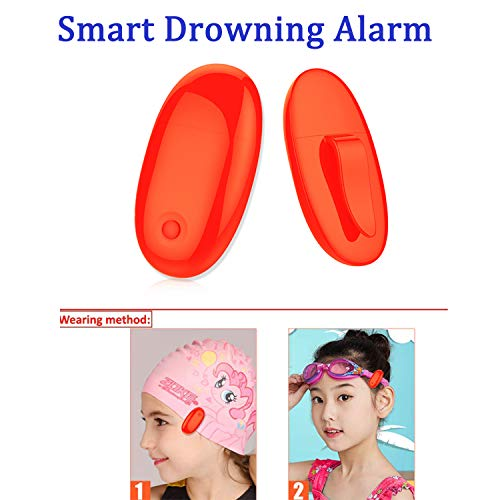 ABREMOE Drowning Alarm Pool Safety Alarm for Kid Wireless Smart Water Sensor Alarm with Red Light Indicator,Clip on Swimming Cap or Goggles Bandage Child Safety Drowning Prevention for Pools Beach