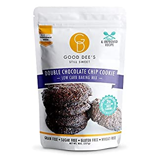 Good Dee's Double Chocolate Chip Cookie Mix – Low carb, Keto friendly, Sugar free, Gluten free, Grain Free, No Nuts, Sweetened Naturally, Atkins friendly, Diabetic friendly, WW Friendly, 2g net carbs