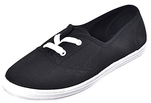 Cambridge Select Womens Closed Round Toe Two Eyelet Lace-Up Flat Plimsoll Fashion Sneaker Black bNgaBWouKB
