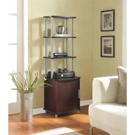 Altra Carson Media Storage Bookcase, Black and Cherry